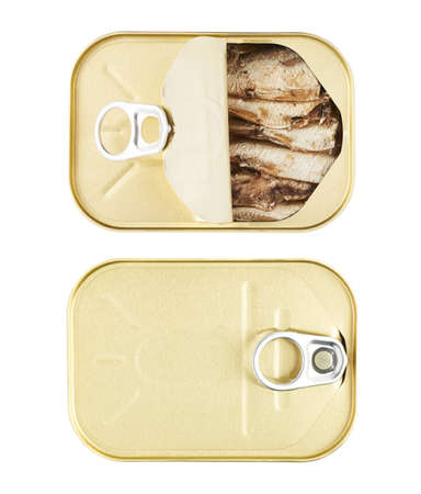 sardine can: Easy open sardine can with the pull tab isolated over the white background, top view, set of two images, closed and opened