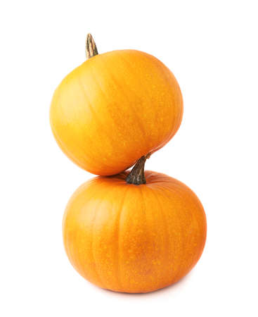 Orange pumpkin composition isolated over the white background photo