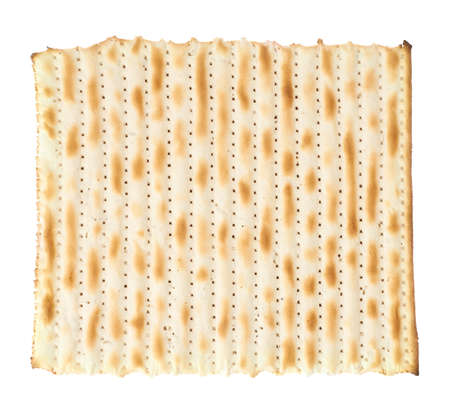 Single machine made matza flatbread piece isolated over the white background, top view above