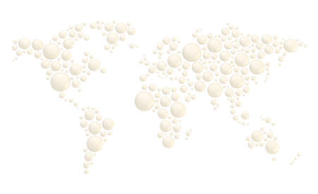 World map made of multiple white glossy plastic dimensional round shapes, composition isolated over the white background photo