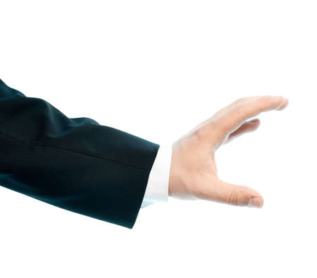 grabbing at the back: Dressed in a business suit caucasian male hand gesture of holding something, high-key light composition isolated over the white background