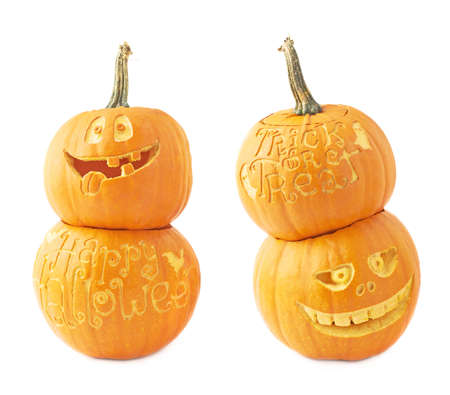 Two Jack-o-lanterns Halloween pumpkin head composition isolated over the white background, set of two foreshortenings photo
