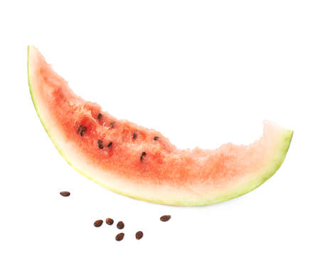 eaten: Crust of an eaten watermelon slice next to its seeds, composition isolated over the white background Stock Photo