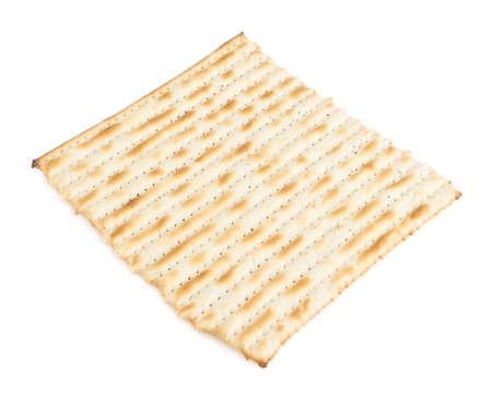 machine made: Single machine made matza flatbread piece isolated over the white background Stock Photo