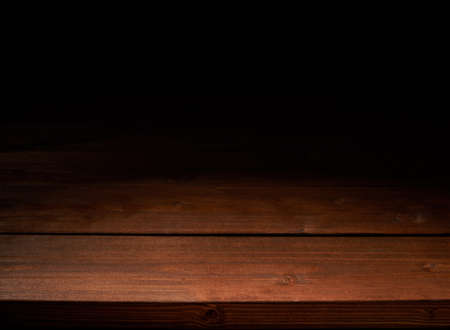 dark wood: Brown wooden boards copyspace background composition, low key lighting Stock Photo