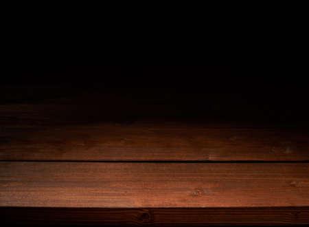 Bruine houten planken copyspace achtergrond samenstelling, low key verlichting Stockfoto