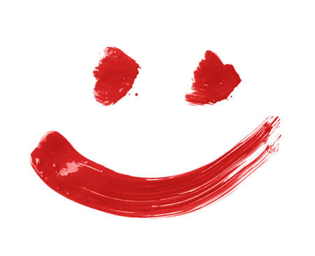 Smile or smiley face drawn with oil paint brush strokes, isolated over the white background