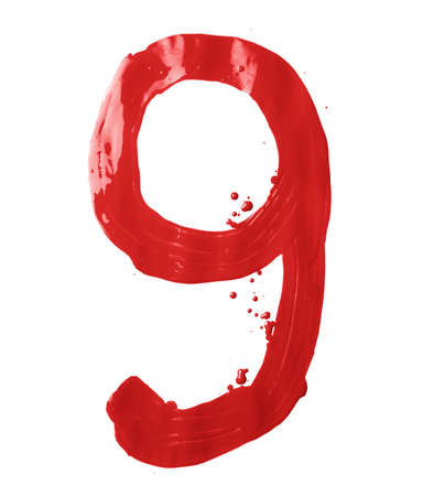 Number nine digit character hand drawn with the oil paint brush strokes isolated over the white background photo