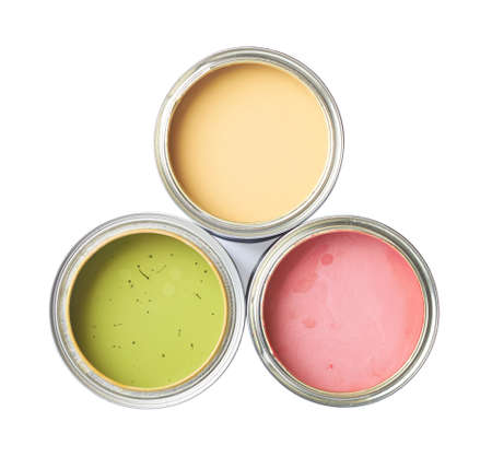 Three cans of paint, top view above, isolated over the white background photo