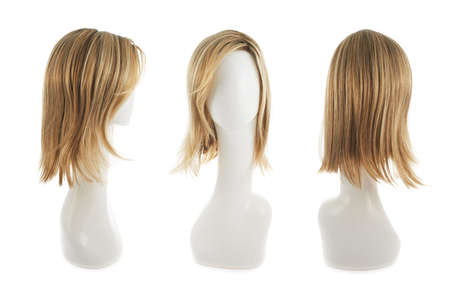 Open wave hair wig over the white plastic mannequin head isolated over the white background, set of three foreshortenings