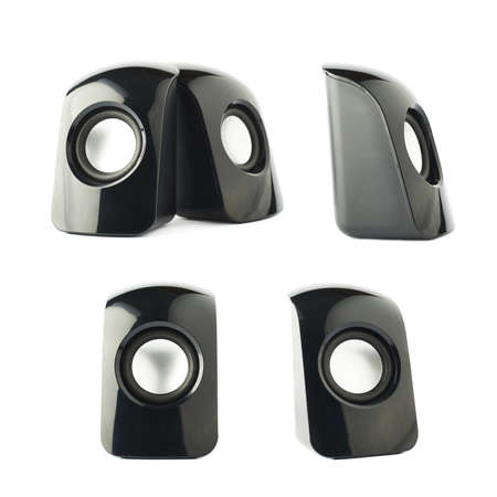 two party system: Black glossy plastic sound speakers isolated over the white background, set of multiple compositions