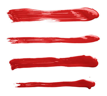 Handmade straight oil paint brush strokes isolated over the white background as an element of backdrop design