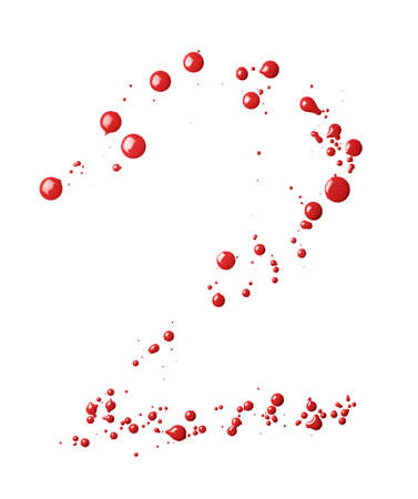 Number two digit character made with multiple oil paint spill drops isolated over the white background photo