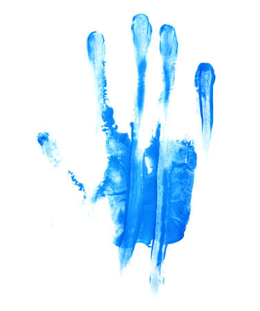 smeared: Handmade hand palm smeared oil paint print isolated over the white background Stock Photo