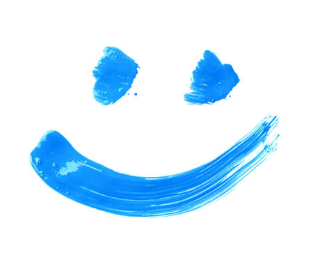 blue face: Smile or smiley face drawn with oil paint brush strokes, isolated over the white background