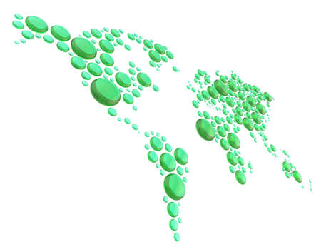 World map made of multiple transparent green glass dimensional glossy round shapes, composition isolated over the white background photo