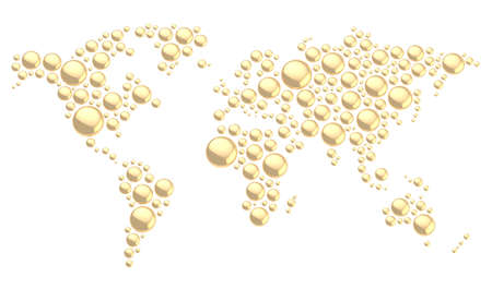 World map made of multiple golden glossy metal dimensional round shapes, composition isolated over the white background photo