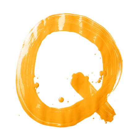 Letter Q character hand drawn with the oil paint brush strokes, isolated over the white background photo