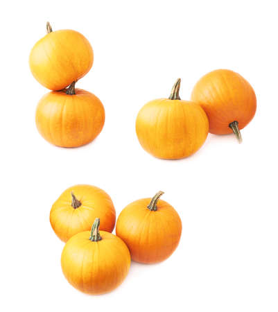 Orange pumpkin composition isolated over the white background, set of three foreshortenings photo