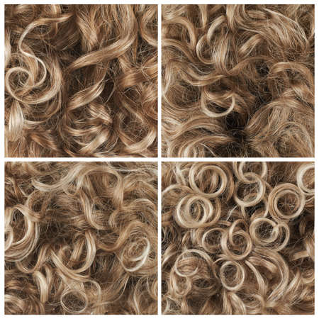 Curly hair fragment as a texture background composition, set of four images