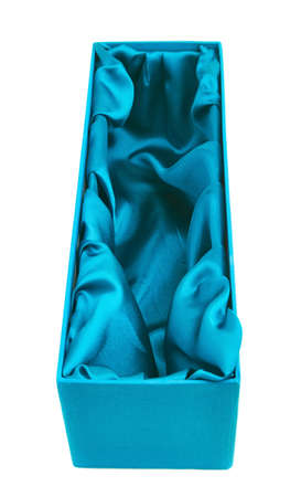 celadon blue: Blue opened tall gift box with the velvet cloth inside, isolated over the white background