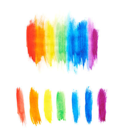 Rainbow gradient made with the watercolor paint strokes over the white background, set of two versions, as a gradient and as separate strokes photo