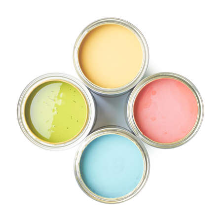 Four cans of paint, top view above, isolated over the white background
