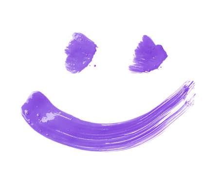 Glimlach of smileygezicht dat met de slagen van de olieverfborstel wordt getrokken, die over de witte achtergrond wordt geïsoleerd