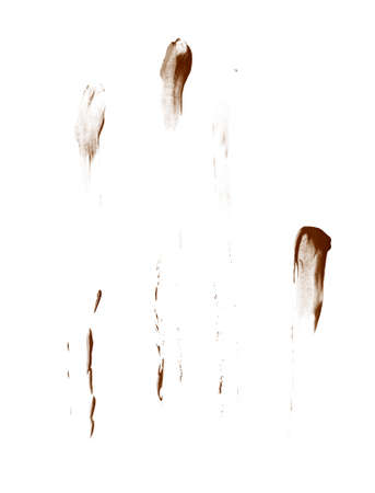 smeared hand: Smeared with the fingers oil paint stains isolated over the white background