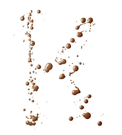 Letter K character made with the oil paint drops and spills, isolated over the white background photo