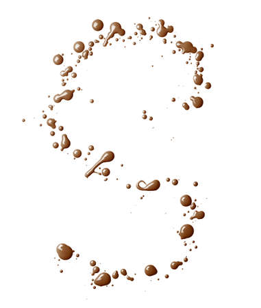 Letter S character made with the oil paint drops and spills, isolated over the white background photo