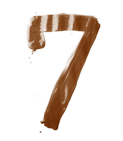 Number seven digit character hand drawn with the oil paint brush strokes isolated over the white background photo