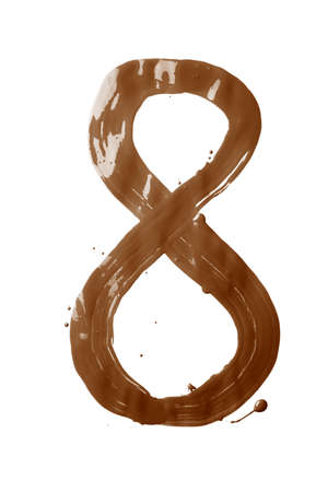 Number eight digit character hand drawn with the oil paint brush strokes isolated over the white background photo