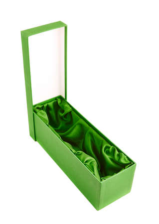 Green opened tall gift box with the velvet cloth inside, isolated over the white background