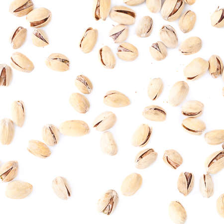 Composition of multiple pistachios isolated over the white background photo