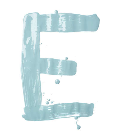 Letter E character hand drawn with the oil paint brush strokes, isolated over the white background photo