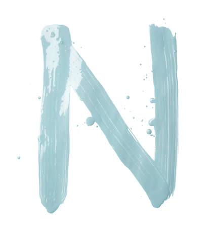 Letter N character hand drawn with the oil paint brush strokes, isolated over the white background photo
