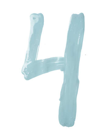 Number four digit character hand drawn with the oil paint brush strokes isolated over the white background Reklamní fotografie