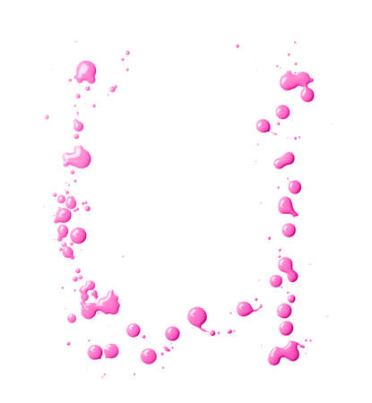Letter U character made with the oil paint drops and spills, isolated over the white background photo