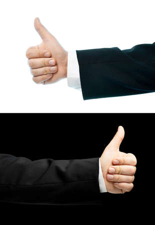approving: Caucasian hand in a business suit, thumbs up approving gesture, set of two versions, isolated over the white and black background Stock Photo