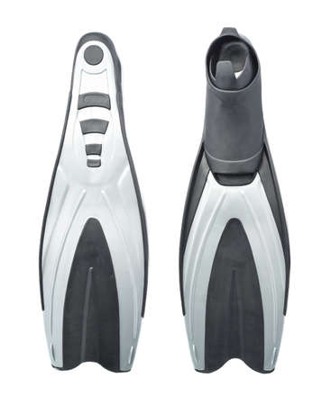 single fin: Single black gray swim fin diving flippers isolated over the white background, set of two foreshortenings
