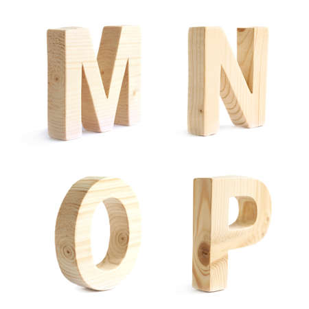 four p: Set of four wooden block character M, N, O, P symbols, isolated over the white background