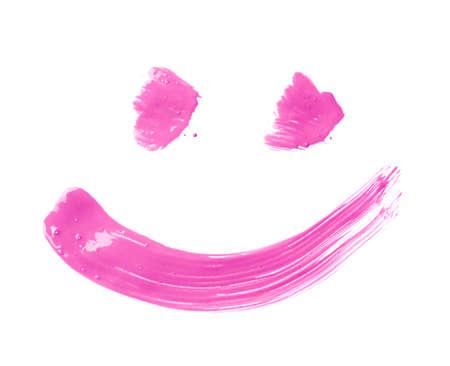cara sonriente: Sonrisa o cara sonriente dibujada con trazos de pincel de pintura de aceite, aislado sobre el fondo blanco Foto de archivo