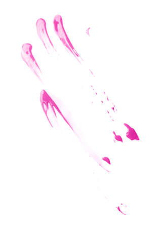 Smeared with the fingers oil paint stains isolated over the white background photo