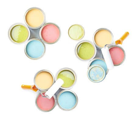 Paint roller over the opened cans of paint, top view above, composition isolated over the white background, set of three images photo