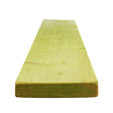 forced perspective: Green paint coated pine wood board with the forced perspective and shallow depth of field composition, isolated over the white background Stock Photo