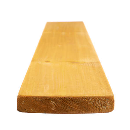 forced perspective: Yellow paint coated pine wood board with the forced perspective and shallow depth of field composition, isolated over the white background