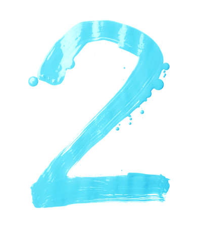 two stroke: Number two digit character hand drawn with the oil paint brush strokes isolated over the white background