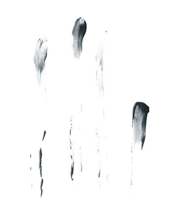 greased: Smeared with the fingers oil paint stains isolated over the white background