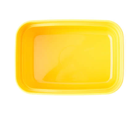 lunch box: Yellow plastic tableware food container isolated over the white background